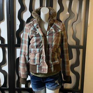 Roxy Plaid Faux Fur Zip Up Jacket